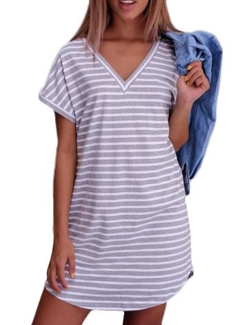 Novo Sexy Mulheres Mini vestido listrado com decote em V mangas curtas vestido casual branco / cinza