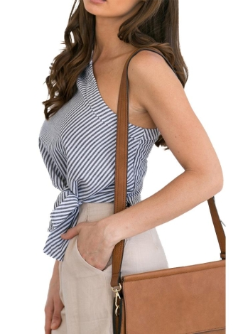 Femmes Blouse Stripe Print Une épaule Asymétrique Cravate à manches courtes Casual Crop Top Partywear Noir
