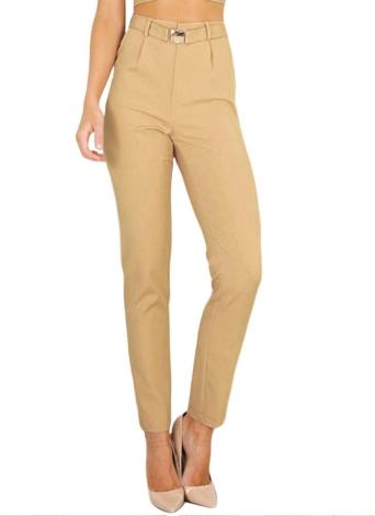 Pantalones casuales de las nuevas mujeres Calcetines del lápiz bolsillos altos de la cintura Polainas sólidas del desgaste del trabajo de OL con la correa de color caqui