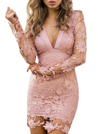 Sexy Mulheres Mini vestido Bodycon Lace Oca Out Bow V-Neck Mangas Longas Elegant Dress Pink / Black