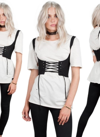 Women Lace Up Waistband Corset Belt Tank Shoulder Tie Up Eyelet Front Back