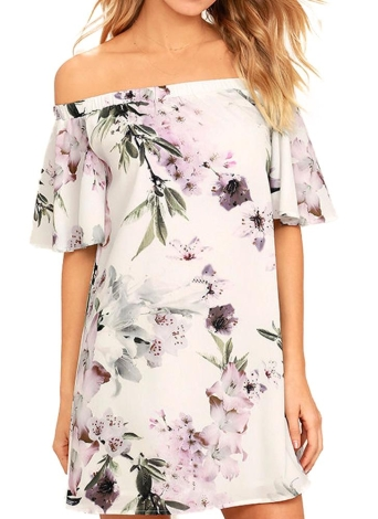 Floral Print Off Shoulder  Slash Neck Ruffle Sleeve  Women's One-Piece Dress