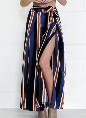 Wide Legs Cropped Pants Side Slit Contrast Striped Print   Casual Trousers