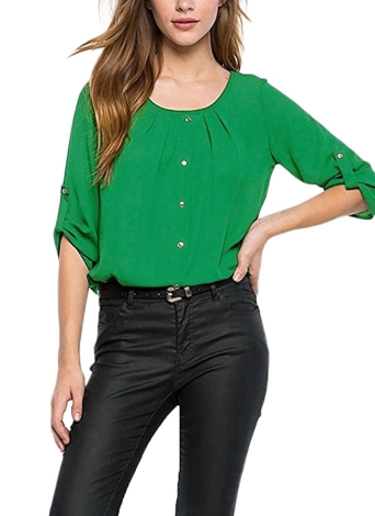 Moda Roll Up mangas Ruched O Neck Botones Blusa casual de las mujeres transpirables