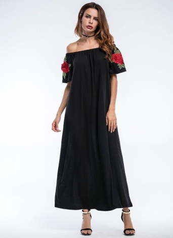 Sexy Off Shoulder Floral Embroidery  Elegant  Women's Long Dress