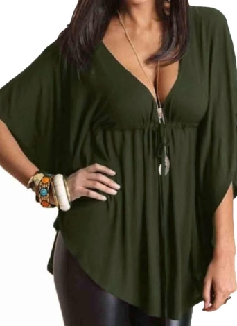 Moda Sexy V Neck Batwing Sleeve Solid Loose Blusa Casual para Mulher