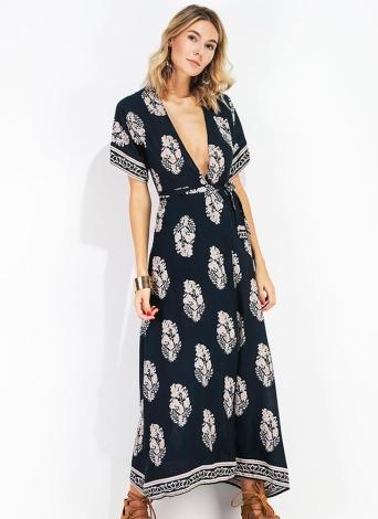 Frauen Maxi Print Kleid Plunge V-Ausschnitt Backless Kurzarm Taille Strap Lange Kleid Dunkelblau