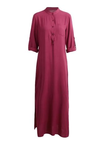 Retro elegante señoras de manga larga collar de pie sólido de las mujeres vestido maxi
