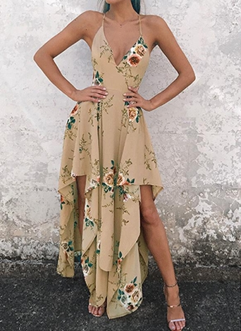Sexy  Deep V Neck Floral Print Asymmetrical Bohemian Women's Dress