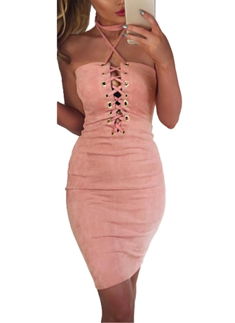 Sexy Summer Off Shoulder Halter Crisscross Bandage Femmes Bodycon Dress
