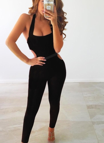 Mujeres Halter Cut Out Bodycon Romper