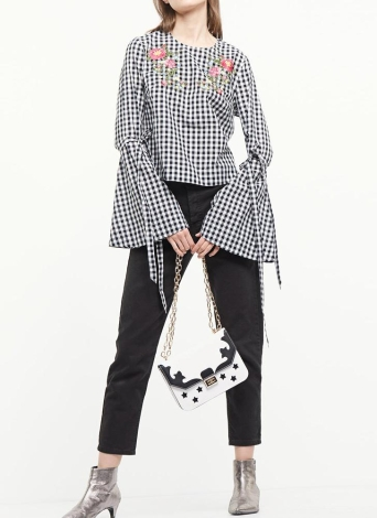 Sexy Floral Embroidery Plaid  Flare Sleeve Loose Women's Blouse
