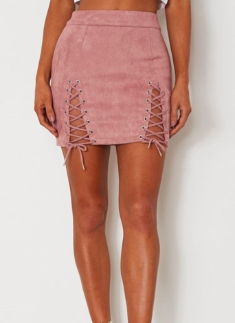 Minifalda de ante con cordones