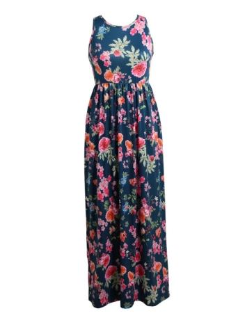 Сексуальная цветочная печать без рукавов Racerback Tunic Maxi Beach Women's Long Dress