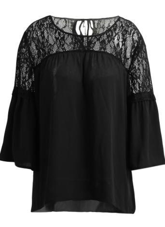 Lace Splicing Shirt Casual Tie 3/4 Sleeves Neck Neck Blusa feminina