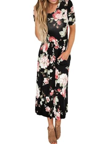 Модные цветочные печатные боковые карманы с высоким талией с круглой шейкой