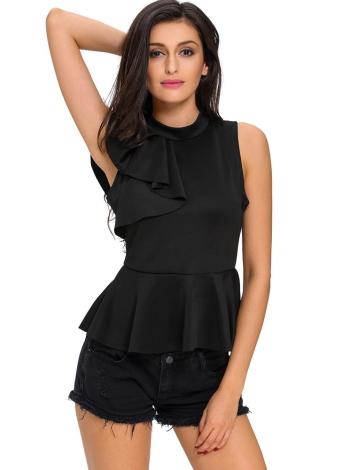 Fashion Asymmetric Ruffle Turtleneck Sleeveless Women's Blouses