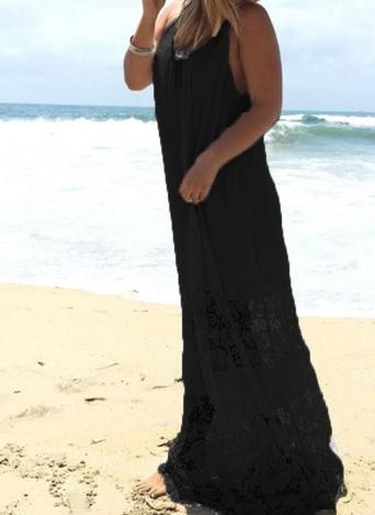 La cinghia di spaghetti della maglia del merletto di estate allunga il vestito di formato dalle donne lunghe allentate