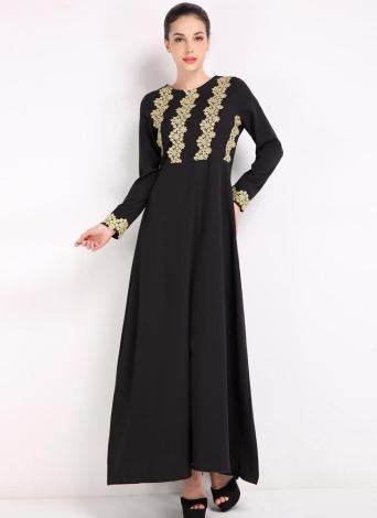 Модная вышивка с длинным рукавом Abaya Kaftan Исламское женское мусульманское платье