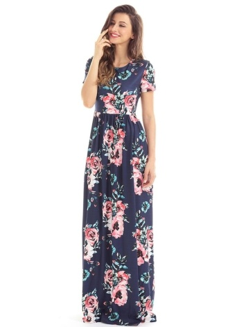 Vintage Bohemian Floral Flower Print Pocket Design Women's Maxi Dress