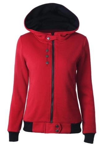 Autumn Winter Casual  Long Sleeve Pockets Zipper Women's Hoodies