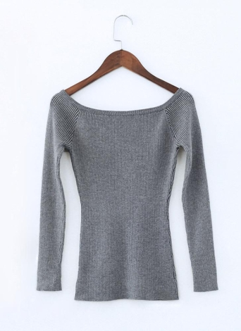 Basic Sweater Slash Neck Solid Knitted Slim  Long Sleeves Women's  Pullover