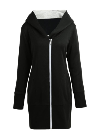 Womens Zip Up Fleece Longline Hoodies