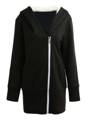 Mujeres otoño invierno cálido abrigo cremallera prendas de vestir exteriores sudaderas con capucha