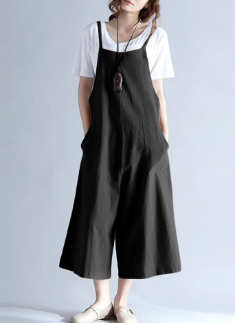 Loose Long Pants Pockets Playsuit Womens Suspender Trousers