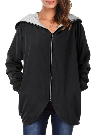 Autumn Winter Hoodies Zip Up à manches longues Plus Size Loose Women's Jacket