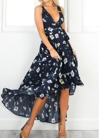 Sexy Plunge V Floral Print sans manches High Low Hem Women's Maxi Dress