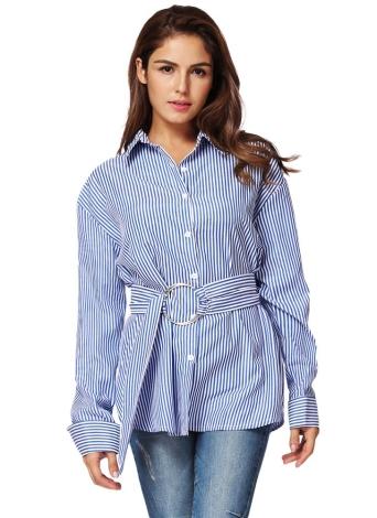 Manica lunga a righe di moda con camicetta delle donne in cintura
