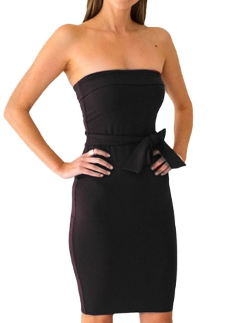 Sexy Backless Knee Length Strapless Women's Bodycon Dress