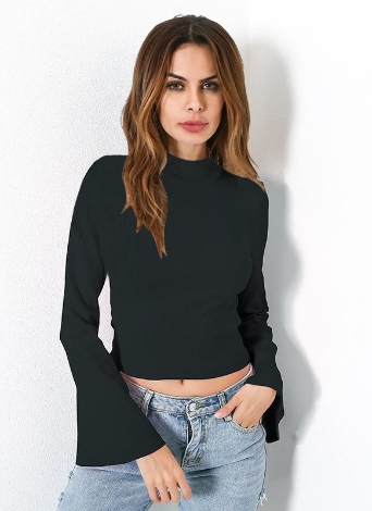 Flare Sleeve Casual Shirt Stand Collar Elegant Slim Women's Tops