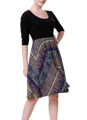Neue Vintage Frauen Print Scoop 3/4 Ärmel Spleißen Design A-Lined Kleid