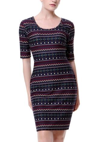 Mini vestido impresso para mulheres vintage