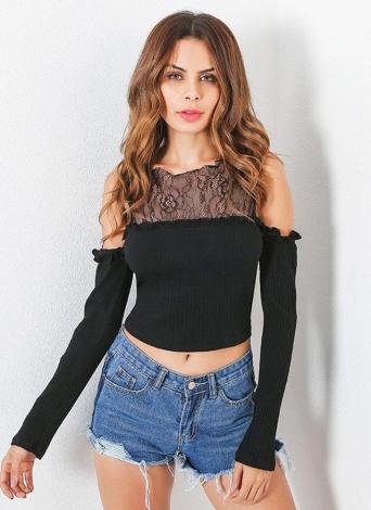 Fashion Cold Shoulder Ruffles  Lace Splicing Long Sleeve Women's T-Shirt