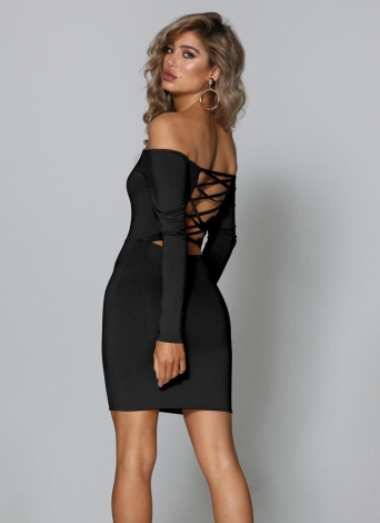 929c9852bf5c Off Shoulder Lace Up Open Back Slash Neck Long Sleeves Bodycon Dress