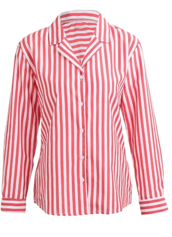 Striped Button Front Turn Down Collar Long Sleeve Loose Women's Blouse