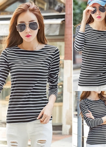 Plus Size Striped Maniche lunghe O Neck Vintage Casual T-Shirt Donna