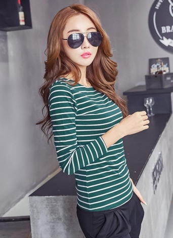 Plus Size Striped Long Sleeves O Neck Vintage Casual  Women's T-Shirt