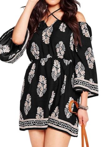 Moda Mulheres Plus Size Long Sleeve Floral Print Off-Shoulder Mini Dress