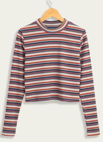 Женские повседневные трикотажные обрезанные полосатые свитера с капюшоном