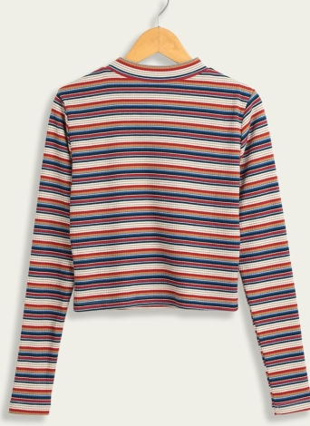 Women Casual Knitted Cropped Striped Pullover Sweater