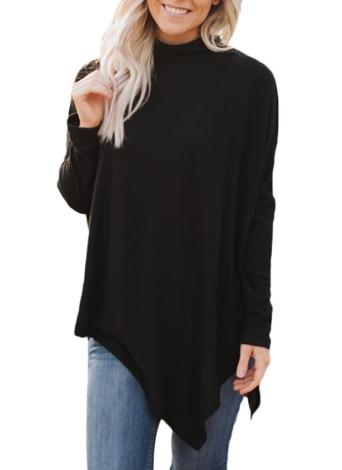 Moda invierno mujeres irregular dobladillo Batwing cuello alto suéter