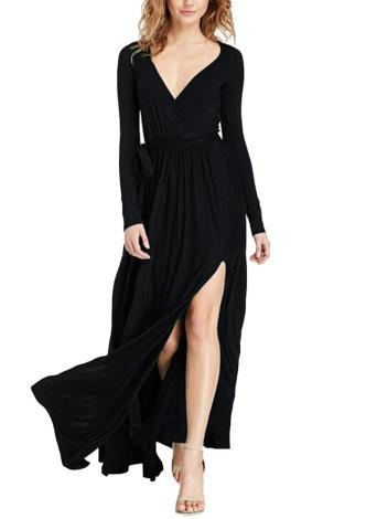 Sexy Femmes Maxi Dress Plongeant V Cou Haut Split Split Long Bandage Solide Mince Élégant Longue Robe