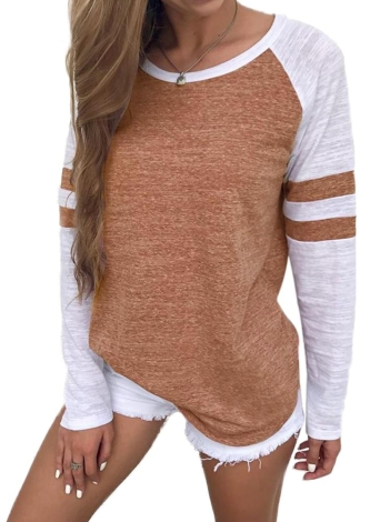 Women Long Sleeves T-Shirt Color Splicing Striped O Neck Raglan Casual Tees Pullovers Tops