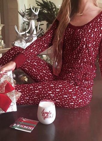 Weihnachten Frauen zweiteilige Pyjama Set Nachtwäsche Rentiere Print Polka Dot Long Sleeves Nachtwäsche