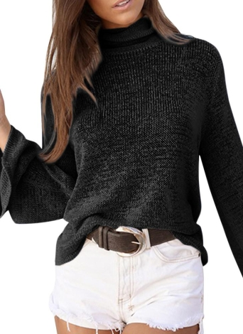 Long Horn Sleeve Turtleneck Blouse Backless Criss Cross Bandage Pullover Sweater