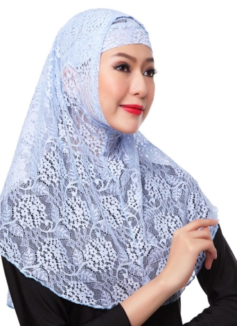New Fashion completa Tampa muçulmano Hijab Two Piece Set Lace Sólidos islâmica Turban Cap Gorros